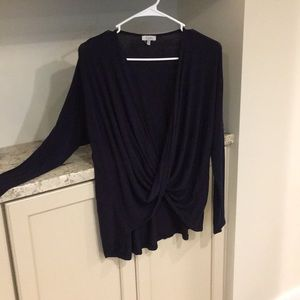 Tobi Open Sexy Wrap Long-Sleeve Cotton Tunic Top
